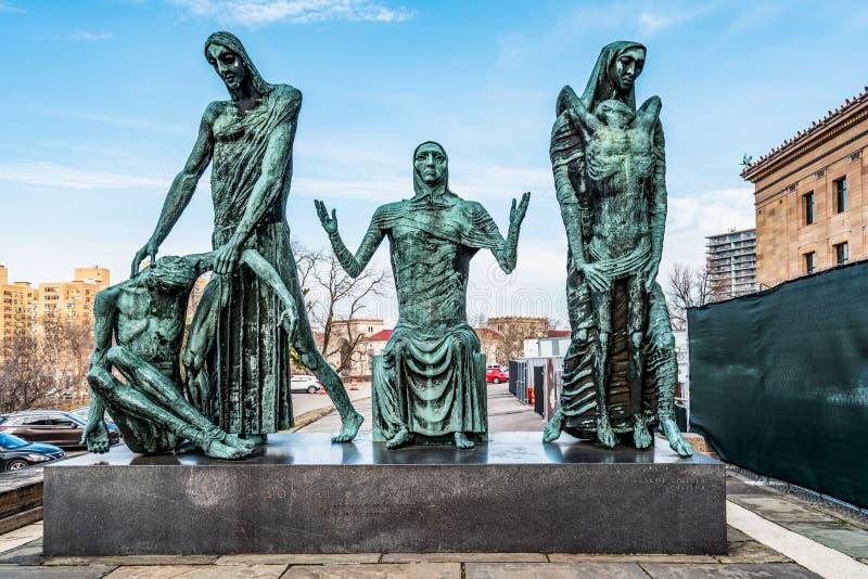 Philadelphia, Pennsylvania, de V.S. - December, 2018 - Standbeeld van Sociaal Bewustzijn door Jacob Epstein, het Museum van Phila stock fotografie