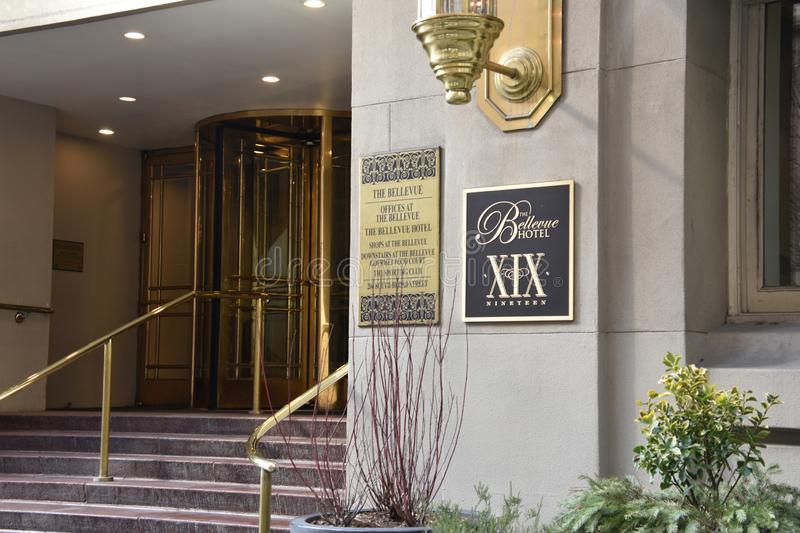 View of the front entrance of the Bellevue Hotel on Broad Street in Philadelphia royalty free stock photos