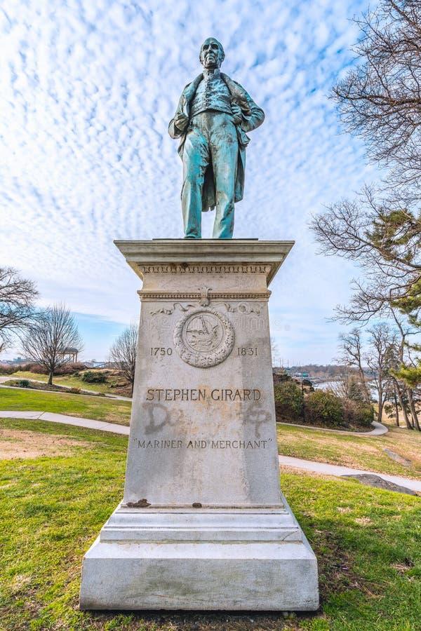 Philadelphia, Pennsylvania, los E.E.U.U. - diciembre de 2018 - estatua de Stephen Girard está fuera del arte del museo de Philade fotos de archivo libres de regalías