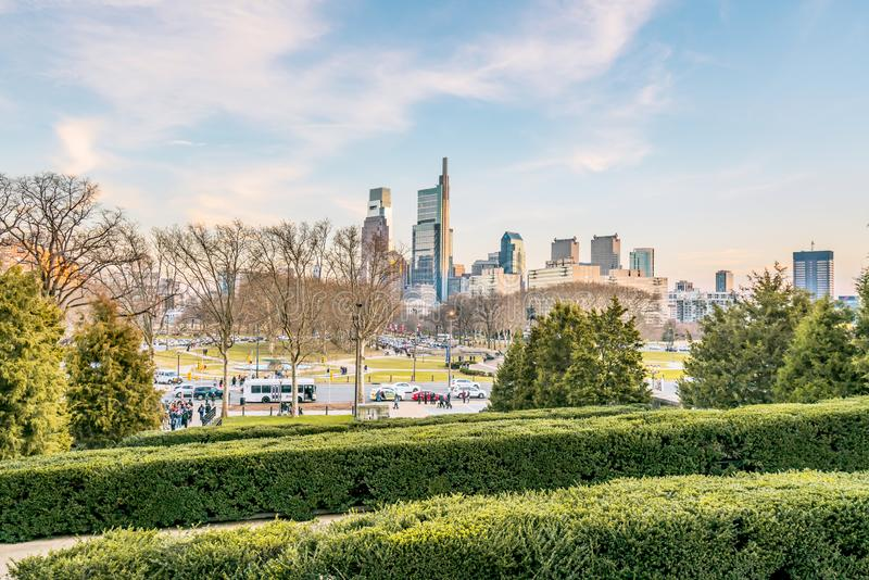 Philadelphia, Pennsylvania, los E.E.U.U. - diciembre de 2018 - opinión de los edificios en Philadelphia fotos de archivo