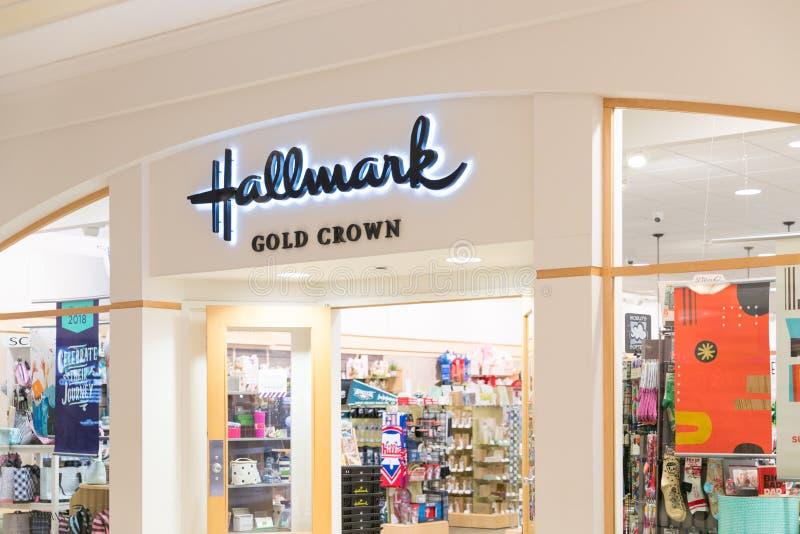Hallmark raised sign shopfront stock image