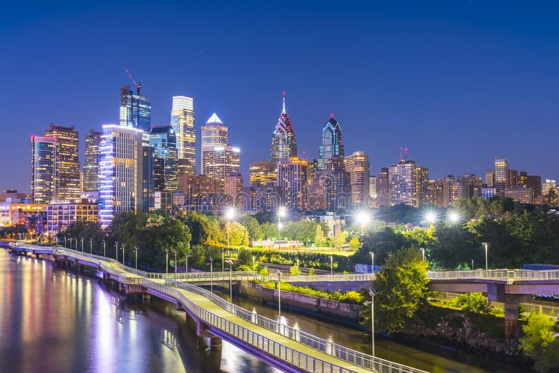 Philadelphia,pennsylvania,PA,usa. 8-23-17:philadelphia skyline a. T night with reflection in river stock image