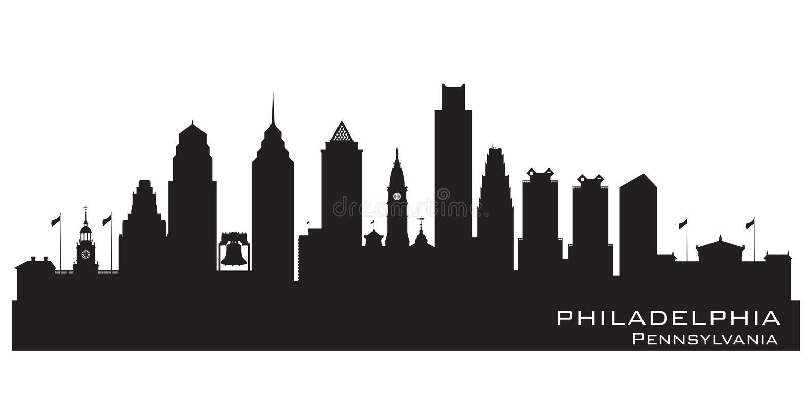 Philadelphia Pennsylvania city skyline vector silhouette stock illustration