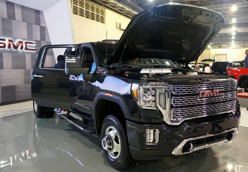 Philadelphia, Pennsylvania, U.S.A - February 9, 2020 - A black color of 2020 GMC Sierra 3500 Denali 4WD royalty free stock photography