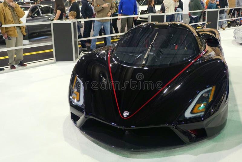 Philadelphia, Pennsylvania, U.S.A - February 9, 2020 - The black color 2020 SSC Tuatara supercar stock images