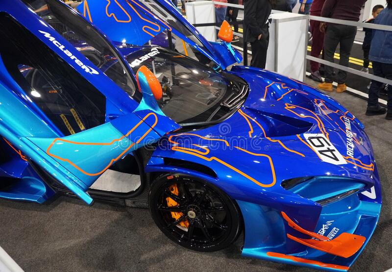 Philadelphia, Pennsylvania, U.S.A - February 9, 2020 - A blue McLaren Senna GTR supercar stock photos