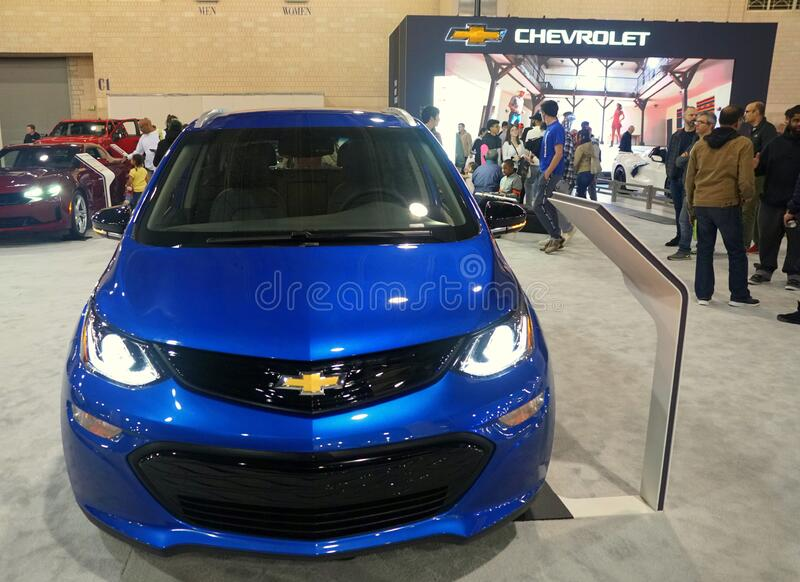 Philadelphia, Pennsylvania, U.S.A - February 9, 2020 - The brand new 2020 Chevy Bolt all electric vehicle in blue color stock photography