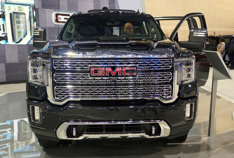 Philadelphia, Pennsylvania, U.S.A - February 9, 2020 - The front view of the black color of 2020 GMC Sierra 3500 Denali 4WD stock images