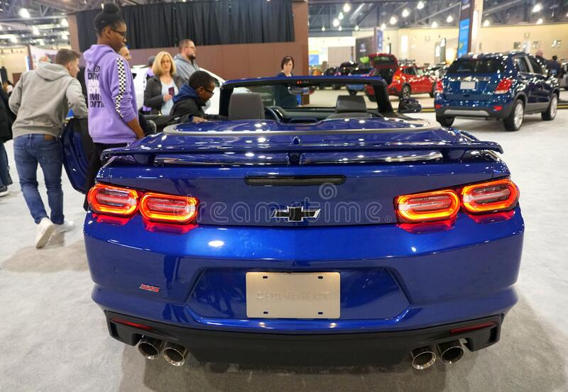 Philadelphia, Pennsylvania, U.S.A - February 9, 2020 - The rear view of the brand new 2020 Chevy Camaro convertible in blue stock image