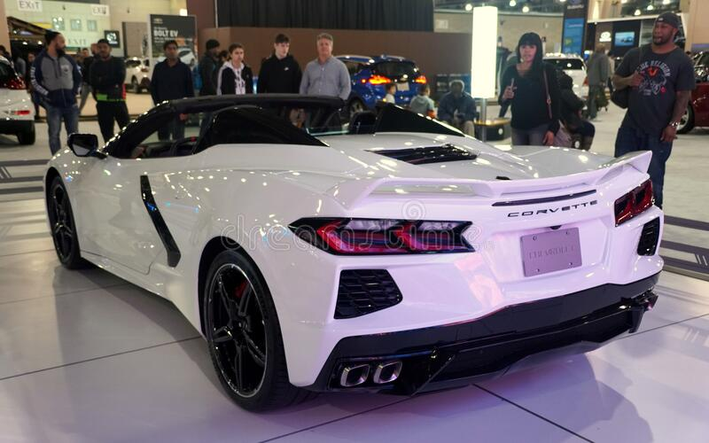 Philadelphia, Pennsylvania, U.S.A - February 9, 2020 - The rear view of the white color 2020 Chevy Corvette Stingray Convertible stock image