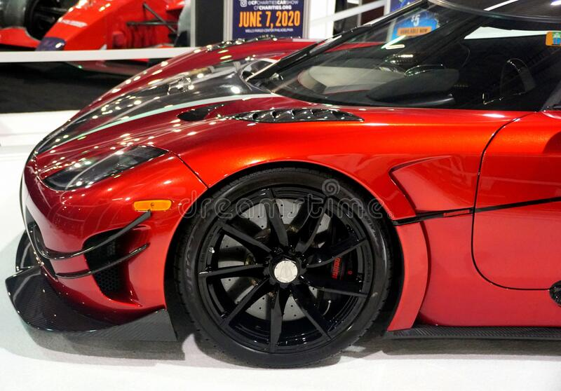 Philadelphia, Pennsylvania, U.S.A - February 9, 2020 - The side view of the red color Koenigsegg Agera supercar stock photo