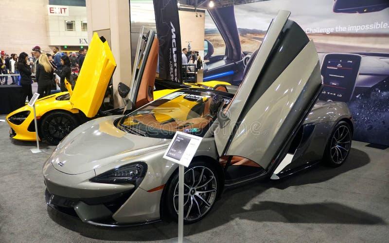 Philadelphia, Pennsylvania, U.S.A - February 9, 2020 - A silver 2020 McLaren 570S sports car stock photography