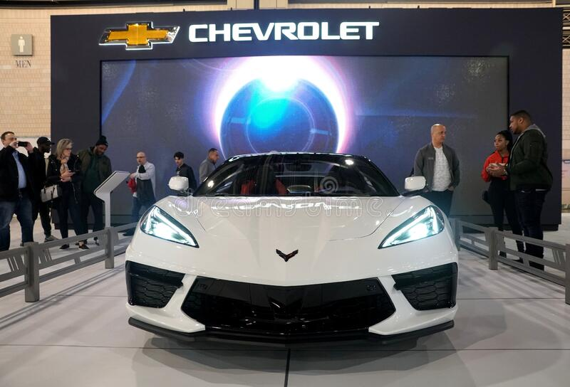 Philadelphia, Pennsylvania, U.S.A - February 9, 2020 - The white color of the brand new 2021 Chevy Corvette Stingray Convertible royalty free stock photo
