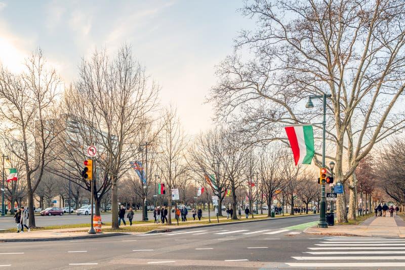 Philadelphia, Pennsylvania, USA - December, 2018 - Benjamin Franklin Parkway stock photo