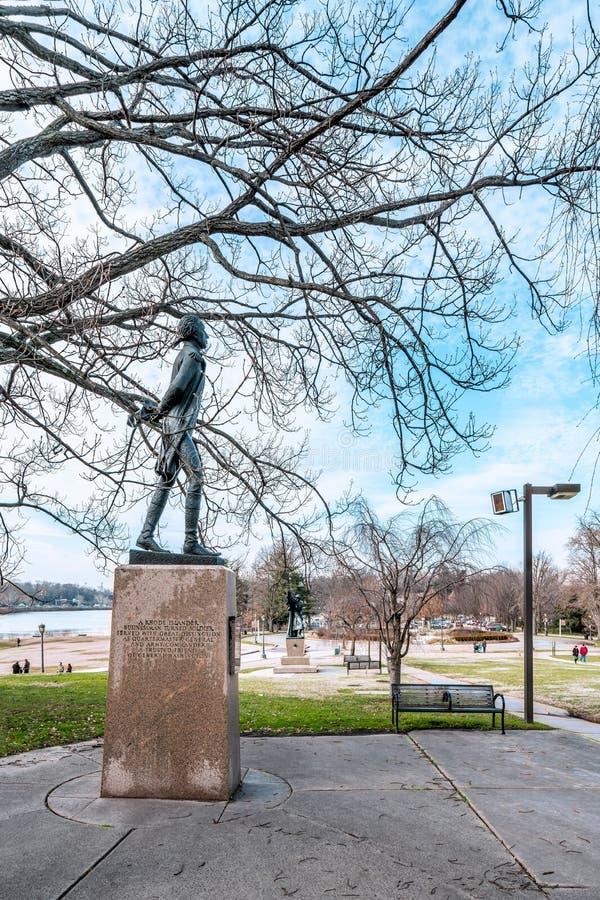 Philadelphia, Pennsylvania, USA - December, 2018 - Bronze statue of General Nathanael Greene can be found in the Garden of War stock photo