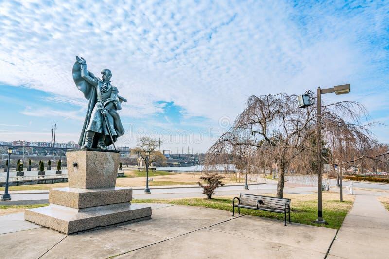 Philadelphia, Pennsylvania, USA - December, 2018 - Bronze statue of Marquis de Lafayette can be found in the Garden of War Heroes stock image