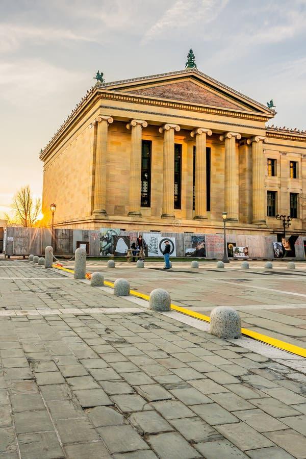 Philadelphia, Pennsylvania, USA - December, 2018 - Philadelphia Museum of Art. Philadelphia, Pennsylvania, USA - December, 2018 - Sunset at Philadelphia Museum stock photos