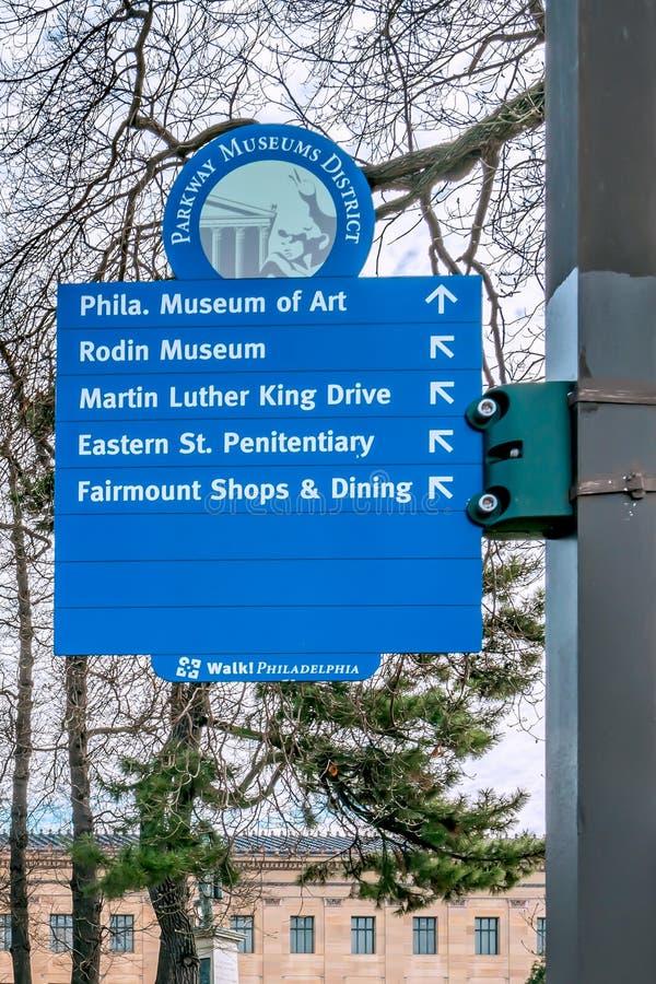 Philadelphia, Pennsylvania, USA - December, 2018 - Parkway museum district sign stock photo