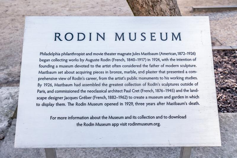 Philadelphia, Pennsylvania, USA - December, 2018 - Sign with descriptions and information at The Rodin Museum in Philadelphia. Philadelphia, Pennsylvania, USA stock photography