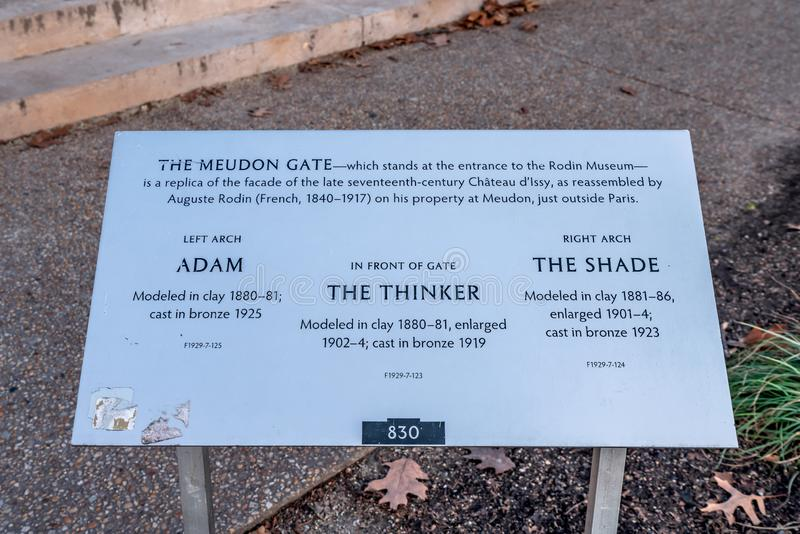 Philadelphia, Pennsylvania, USA - December, 2018 - Sign with descriptions and information of the sculptures at The Rodin Museum in. Philadelphia, Pennsylvania stock photography