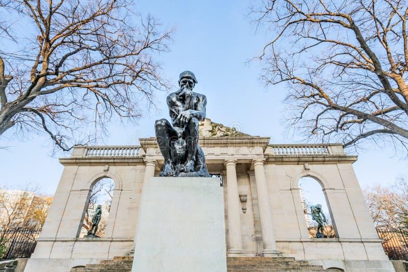 Philadelphia, Pennsylvania, USA - December, 2018 - The Thinker Sculpture at Rodin Museum in Philadelphia royalty free stock images