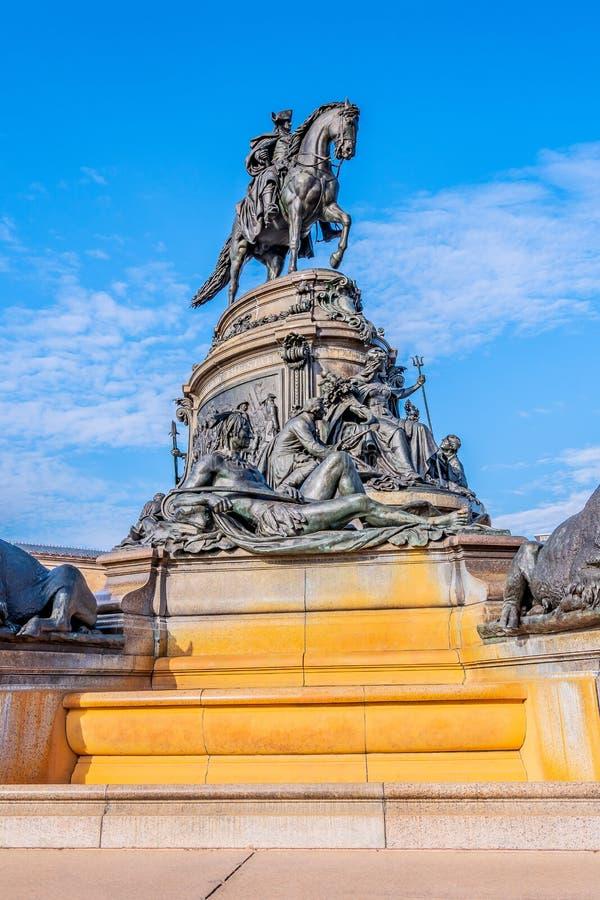 Philadelphia, Pennsylvania, USA - December, 2018 - Washington Monument fountain with George Washington, by Rudolf Siemering, at stock photo
