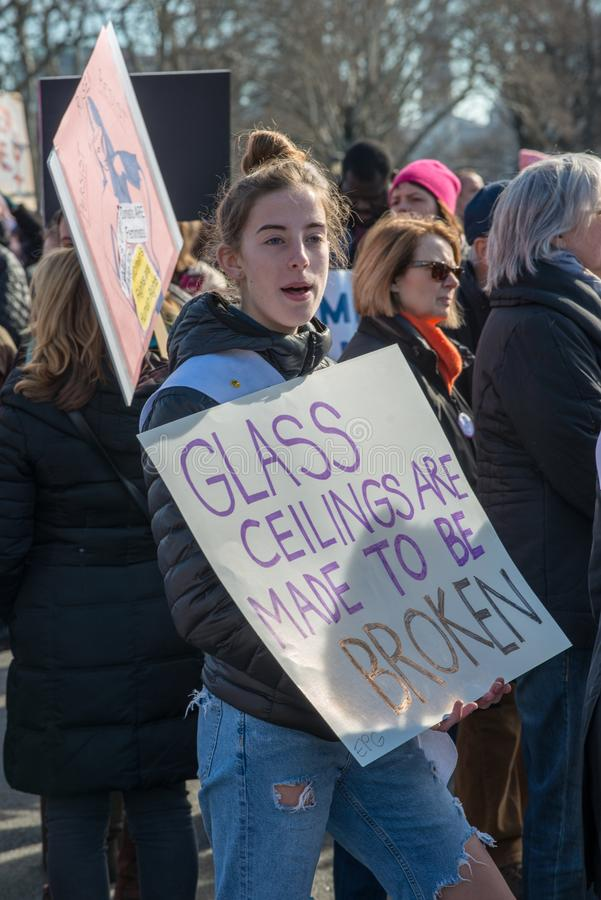 Philadelphia, Pennsylvania, USA - January 20, 2018: Thousands in Philadelphia unite in solidarity with the Women`s March stock photography