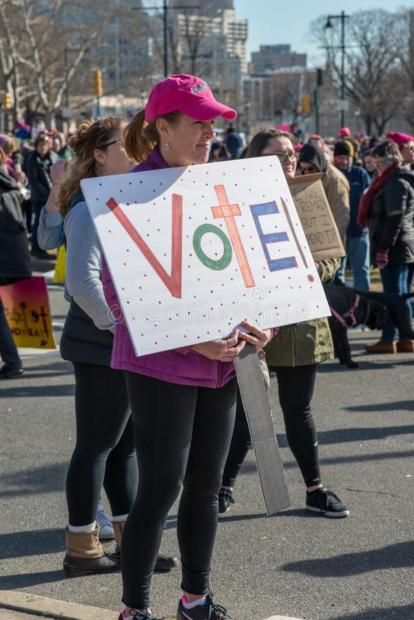 Philadelphia, Pennsylvania, USA - January 20, 2018: Thousands in Philadelphia unite in solidarity with the Women`s March royalty free stock photos