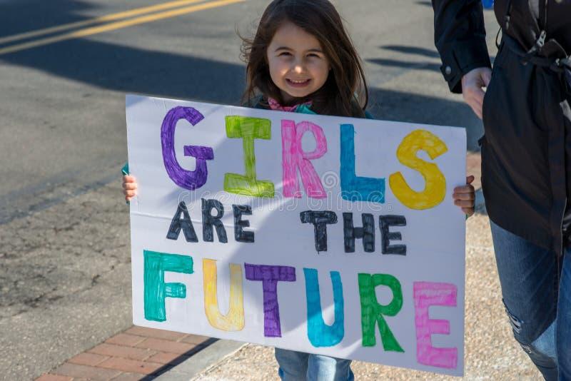 Philadelphia, Pennsylvania, USA - January 20, 2018: Thousands in Philadelphia unite in solidarity with the Women`s March.  stock photo