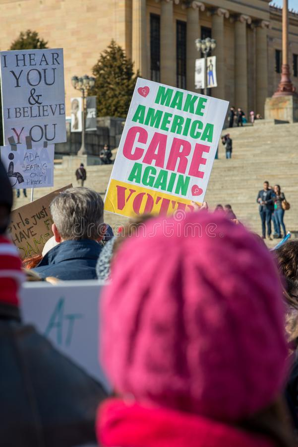 Philadelphia, Pennsylvania, USA - January 20, 2018: Thousands in Philadelphia unite in solidarity with the Women`s March royalty free stock image