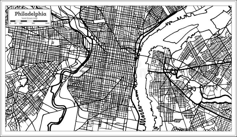 Philadelphia Pennsylvania USA Map In Black And White Color Stock - Black and white usa map