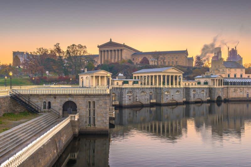 Philadelphia, Pennsylvania, USA Waterworks Skyline. Philadelphia, Pennslvania, USA at the wate works at dawn stock photo