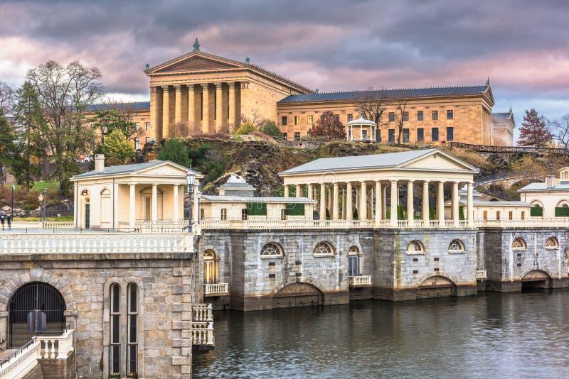 Philadelphia, Pennsylvania, USA Waterworks Skyline. Philadelphia, Pennslvania, USA at the wate works at dawn stock photos