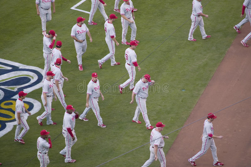Philadelphia Phillies. Take the field during National League Championship Series (NLCS), Dodger Stadium, Los Angeles, CA on October 12, 2008 stock photos