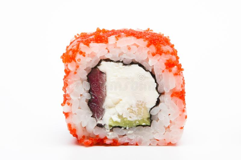 Philadelphia roll, Sushi rolls isolated on white background. Collection. Closeup of delicious japanese food with sushi roll.  stock images