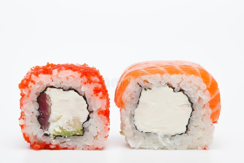 Philadelphia roll, Sushi rolls isolated on white background. Collection. Closeup of delicious japanese food with sushi roll.  stock photos