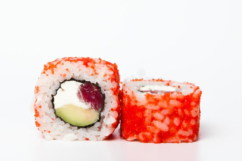 Philadelphia roll, Sushi rolls isolated on white background. Collection. Closeup of delicious japanese food with sushi roll.  royalty free stock photography