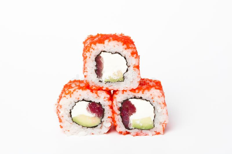 Philadelphia roll, Sushi rolls isolated on white background. Collection. Closeup of delicious japanese food with sushi roll.  royalty free stock image