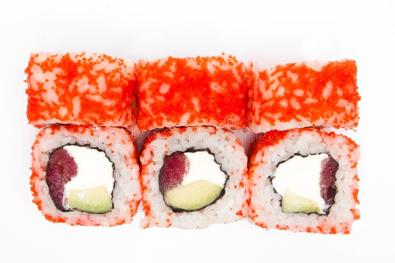 Philadelphia roll, Sushi rolls isolated on white background. Collection. Closeup of delicious japanese food with sushi roll.  stock image