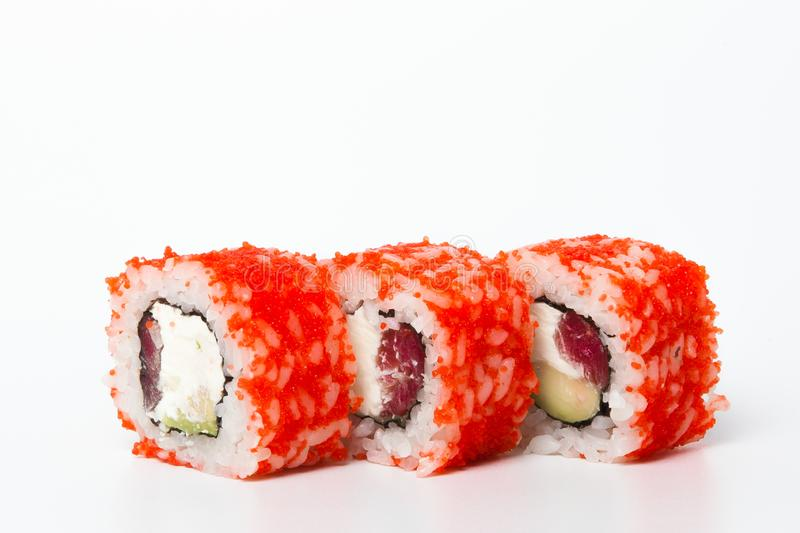 Philadelphia roll, Sushi rolls isolated on white background. Collection. Closeup of delicious japanese food with sushi roll.  royalty free stock images