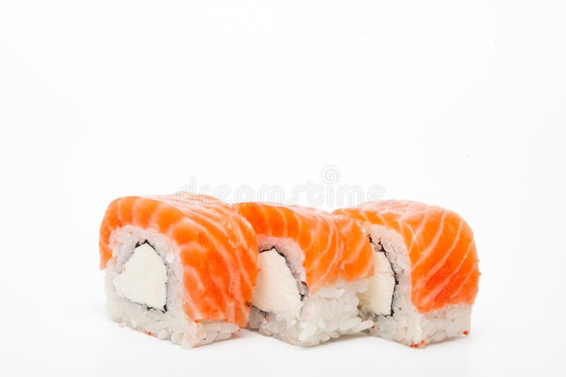 Philadelphia roll, Sushi rolls isolated on white background. Collection. Closeup of delicious japanese food with sushi roll.  stock photography