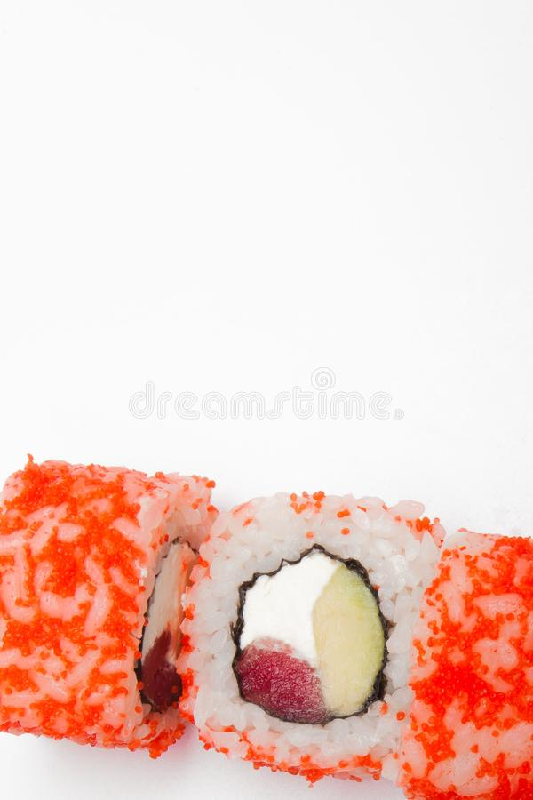 Philadelphia roll, Sushi rolls isolated on white background. Collection. Closeup of delicious japanese food with sushi roll.  stock photo