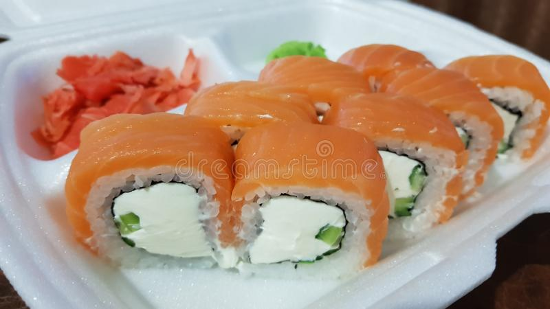 Philadelphia rolls with white cheese royalty free stock photography