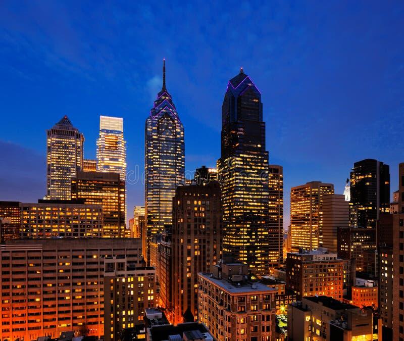 Philadelphia's skyline at dusk. City of Philadelphia, skyline is beautifully lit up at dusk royalty free stock image
