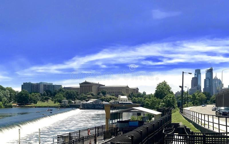 Philadelphia from the schuylkill. View of the city, art museum and schuylkill river in Philadelphia royalty free stock photography