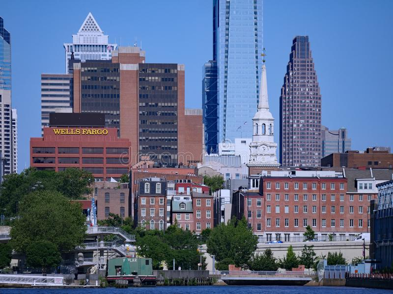 Philadelphia skyline from across the Delaware River royalty free stock photos