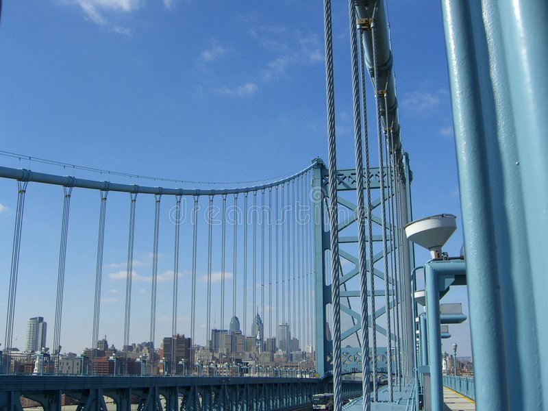 Philadelphia Skyline From Ben Franklin Bridge stock photo