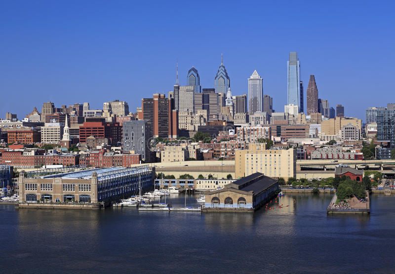 Philadelphia skyline and Delaware River. USA stock photos