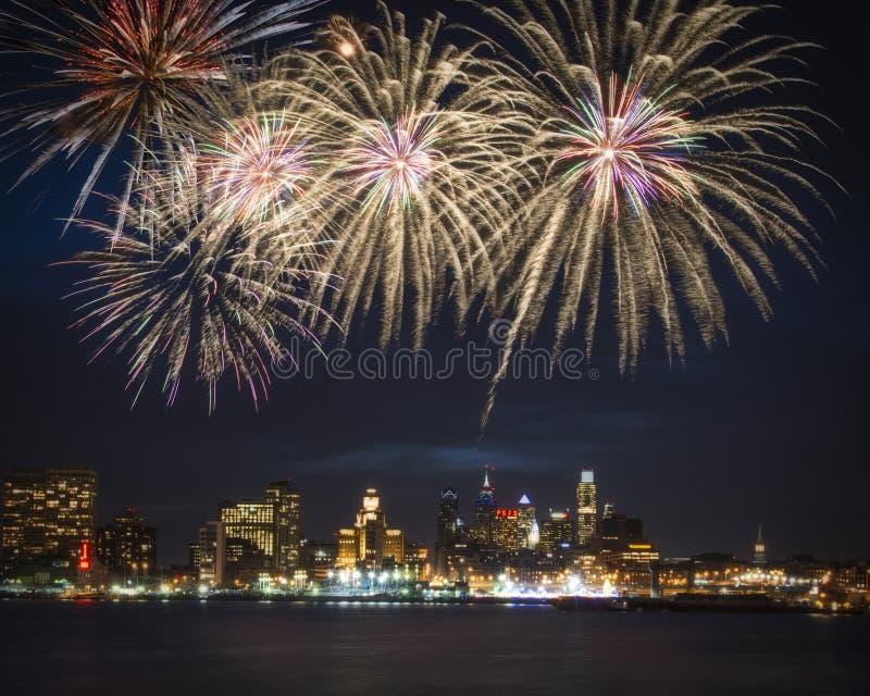 Philadelphia skyline and fireworks royalty free stock photography