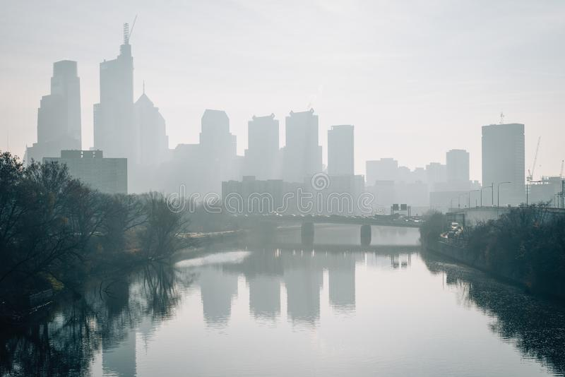 The Philadelphia skyline in fog and Schuylkill River in Philadelphia, Pennsylvania stock photos
